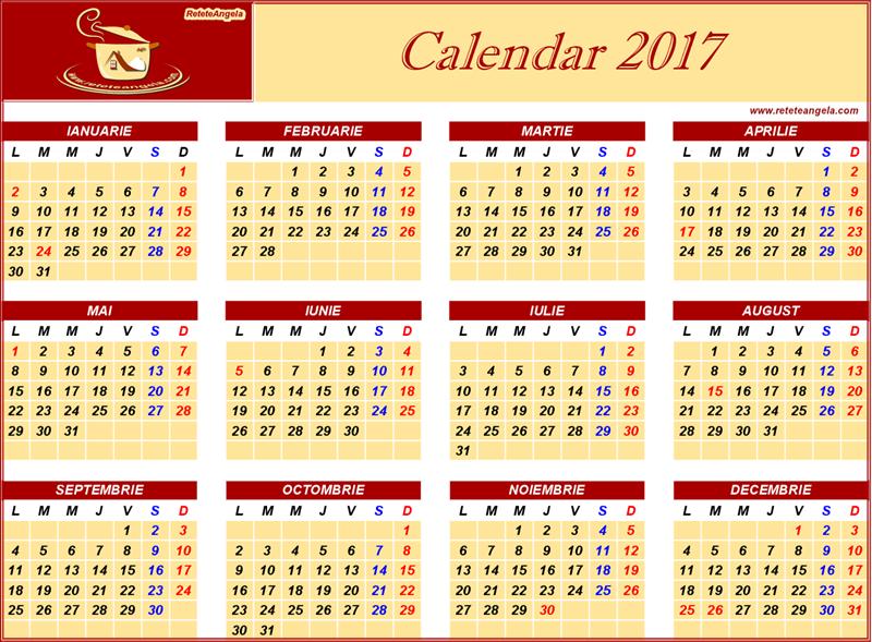 Calendar 2017 in limba romana. 2017 Calendar cu sarbatori nationale si ...