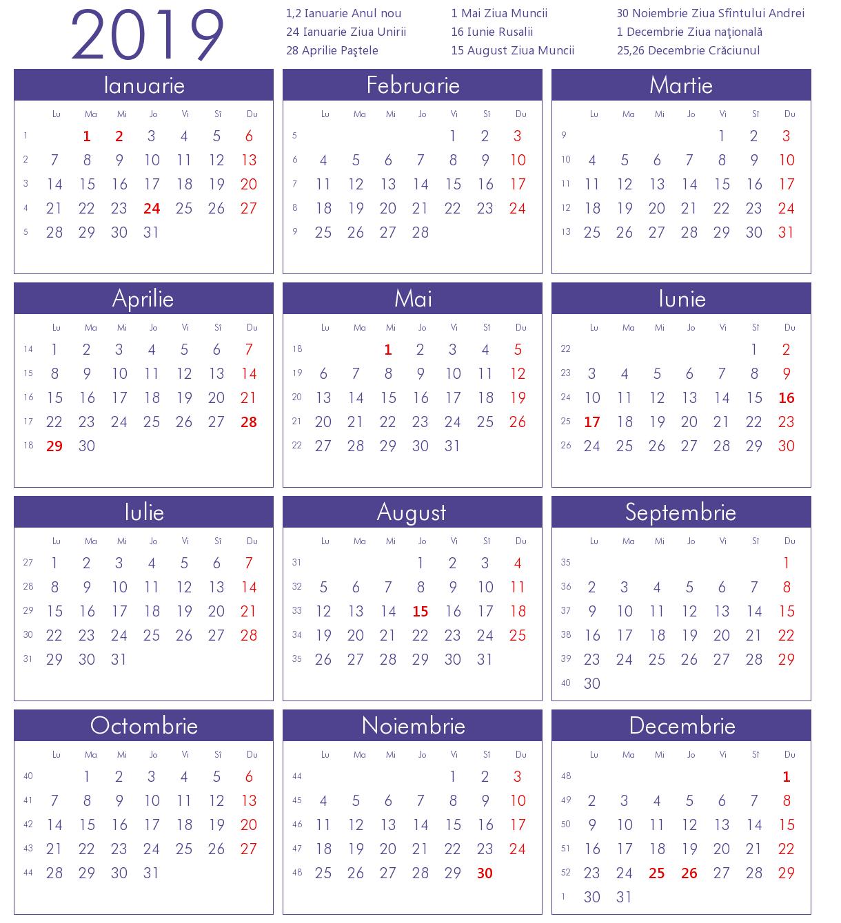 Calendar 2019 limba romana cu sarbatori legale