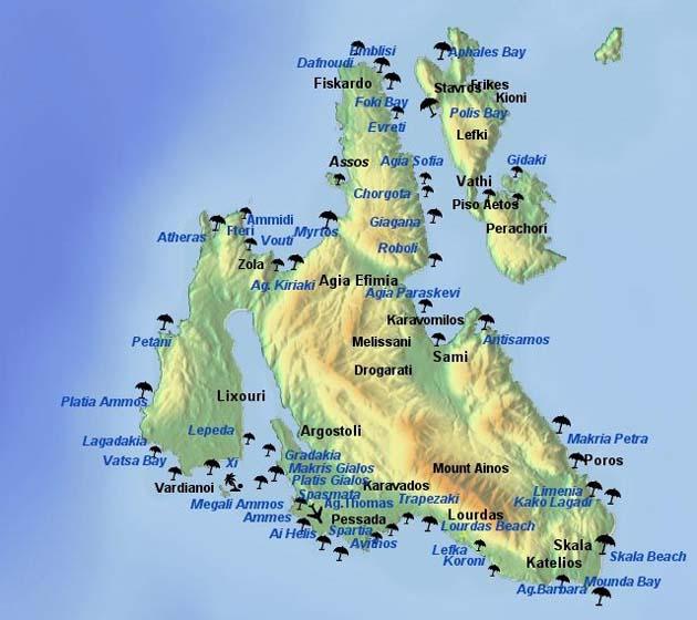 Hartă turistică Cephallonia ghid turistic Kefalonia