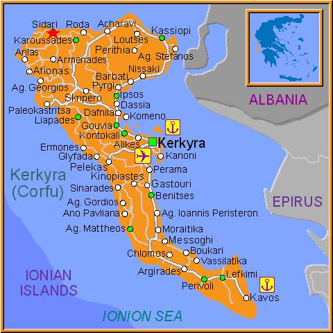 Harta turistica insula Corfu