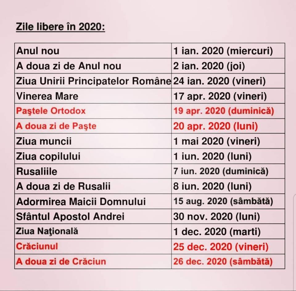 Sarbatori Legale 2020 calendar